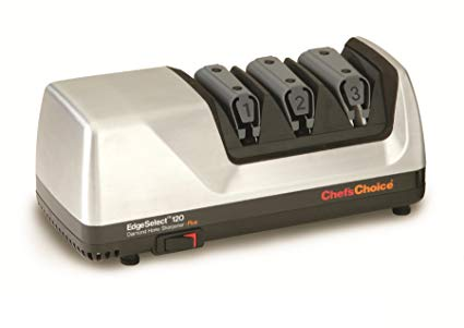Chef'sChoice 120 EdgeSelect Diamond Hone Professional Knife Sharpener for Straight and Serrated Knives with Precision Angle Control, 3-Stage, made in USA, Brushed Metal