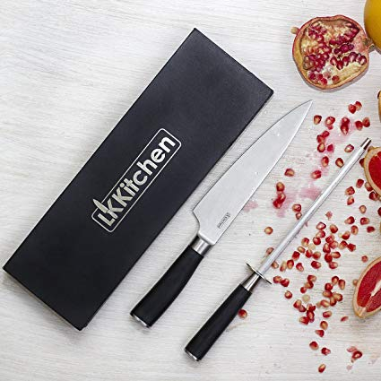 Chef's Kitchen Knife and Sharpener - Professional Set by LK Kitchen - 8 inch Stainless Steel Sharp Blade Knife for the Home Cook or Pro Chef - Comes in Gift Box